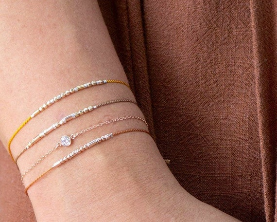 CZ on Dainty Rose Gold Bracelet