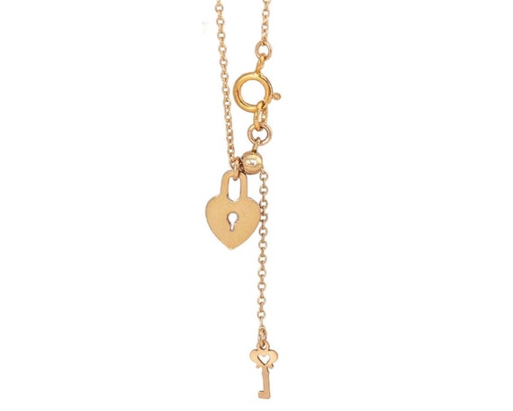Tiny Heart Gold Necklace Lock and Key Necklace - Dainty Heart Lock All 14k Gold-Filled Necklace Galentines Day Valentines Day Gift Chain