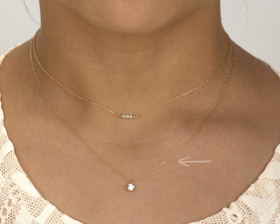 Sliding CZ Dainty Chain Necklace