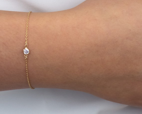 Dainty Gold Bracelet • Bridesmaid Gift Bracelet • Bridal Jewelry • Layering Bracelet • Stacking Gold Filled Bracelet with Round CZ 14k rk81b