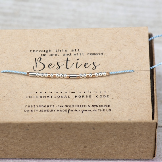 Besties Morse Code Bracelet Best Friend Gifts Quarentine Gifts I miss you Morse Code Bracelet Bracelet blue Best Friend Bracelet Bestie