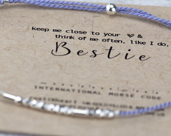 Bestie Morse Code Bracelet Best Friend Gifts Quarentine Gifts I miss you close to heart Morse Code Bracelet Bracelet lilac purple Bestie