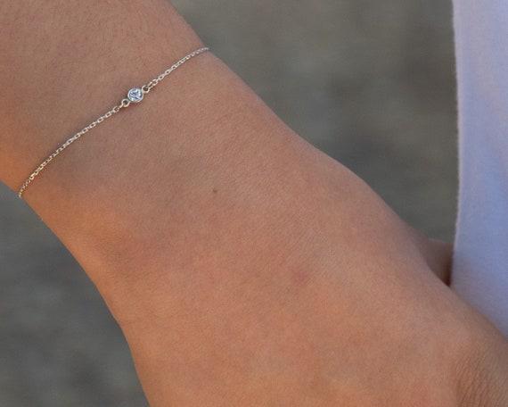 Dainty Solitaire Silver Chain Bracelet White Round Diamond Cut CZ Charm Simple Elegant Feminine Bracelet Minimalist Jewelry tiniest stone 71