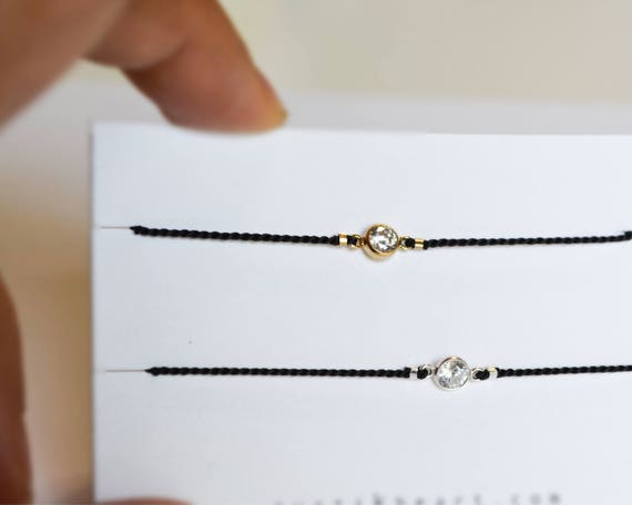 Round Diamond String Bracelet / Black Cord Bracelet with Little CZ Charm / Diamond on String Black Bracelet Rose Gold Silver Any Color