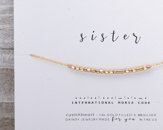 Sister Necklace Morse Code Necklace Sisters Custom Chain Personalized Any Size Dainty Gold Necklace Best Friend Gift