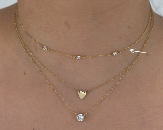 Diamond Cut Link Charms Choker rk71x3 3 CZ Link Charms ChokerDainty Layering Choker to Stack and Layer 14k Gold Filled