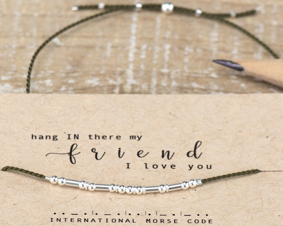 Hang IN there Friend Morse Code Bracelet Best Friend Gifts Quarentine Gifts I miss you Morse Code Bracelet Bracelet blue Best Friend