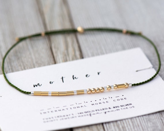 Mother Morse Code Bracelet | Mother Gift | Mother Bracelet | Gold Morse Code Bracelet | Olive Green  14K Gold Filled Morse Code Jewelry