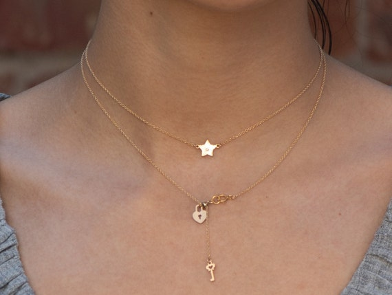 Little Star Necklace • Gold-Filled Star Chain Necklace • Little Gold Star Girl Necklace Dainty Jewelry