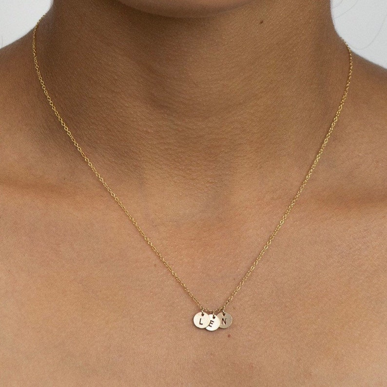 Letter Discs Necklace  Initial Disc Charms  mom necklace  image 0