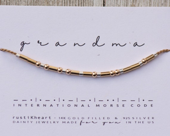 Grandma Gift Bracelet | Grandma Morse Code Bracelet Secret Hidden Message Surprise Announcement Grandmother Gift Gigi Nana Bracelet for Gran