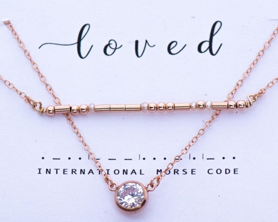 Necklace Set - Loved or Custom Rose Gold and Pearls Morse Code Bar Necklace with 14K Rose Gold Filled Nasreen CZ diamond cut Necklace