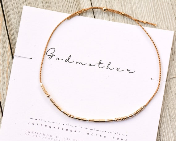 Godmother Gift • Godmother Bracelet | Morse Code Bracelet | Tan Silver and Rose Gold String God Mother in Morse Code Gift Bracelet Silver