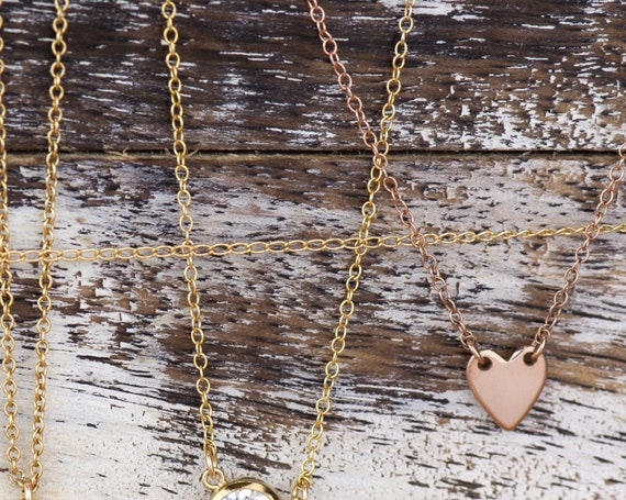 Dainty Rose Gold Heart rk88r Chain Necklace Layering Choker Necklace Adjustable Layer hanging heart charm choker