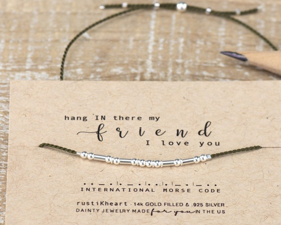 Hang IN the Friend Morse Code Bracelet Best Friend Gifts Quarentine Gifts I miss you Morse Code Bracelet Bracelet blue Best Friend
