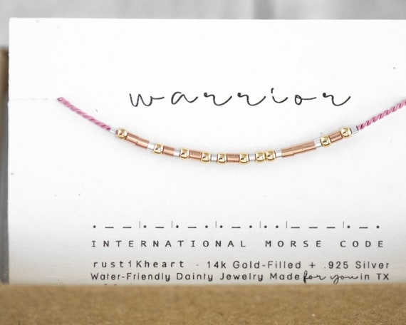Warrior Strong Woman Gift Pink Morse Code Bracelet Warrior Bracelet Warrior Gift Get Well Soon Be Strong You Got This
