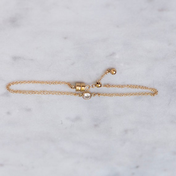 Be Bold Bracelet with White Crystal Diamond Cut CZ in Gold or Rose Gold