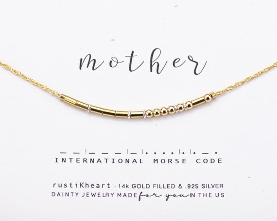 Mother Necklace • Mother Gift Morse Code Necklace • Gold Golden Dainty Morse Code Chain Necklace Mothers Day Gifts