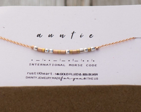 Rose Gold Morse Code Bracelet - Godmother Gift - Baptism Gift Ideas Morse Code Chain Bracelet Custom Names or any word