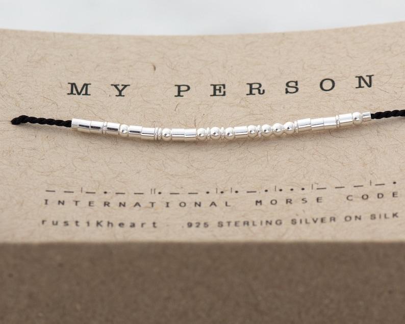 Boyfriend Gift  Morse Code Bracelet   My Person Morse Code  Black