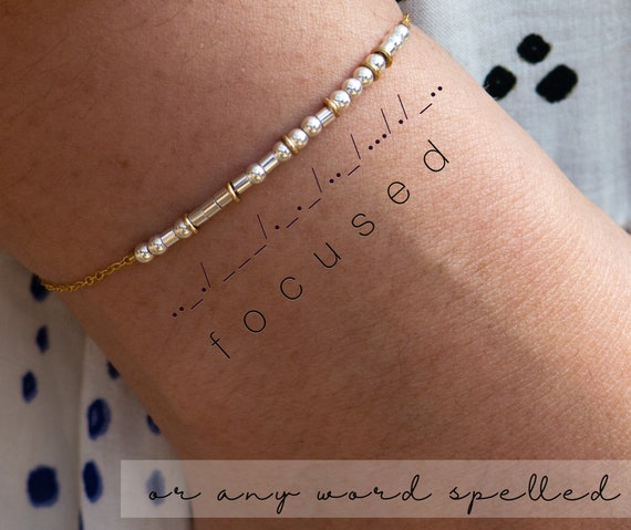 Morse Code Bracelet - Silver Morse Code Chain Bracelet with Gold Spacers Focused Bracelets Goals Graduation Gift Dream