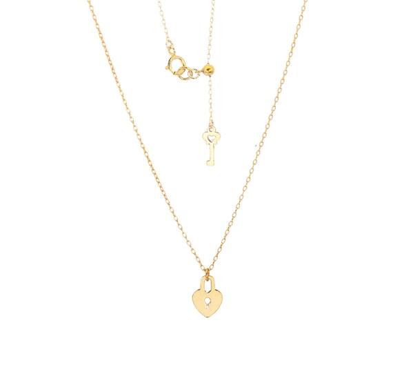 Tiny Heart Lock and Key Necklace