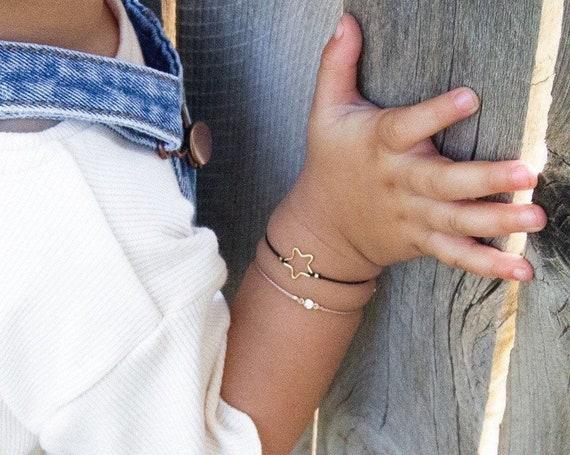 SET of 2 Silk Cord Bracelets: Star + Tiny Diamond cut CZ
