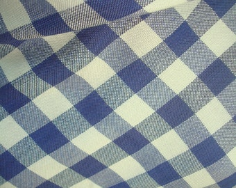 Blue White Fabric, Vintage Natural Fabric, Medium Check Fabric, Viscose, Staple, Fabric for Craft, Diy, By the Yard, Apparel Fabric, Eco