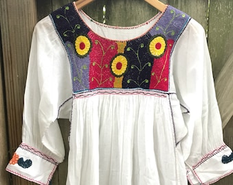 Mexican Blouse, Fiesta Blouse, Mexican Blouse from Chiapas Nuditos style