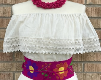 Mexican Blouse, Fiesta Blouse, Campesina, Embroidered Belt, Mexican Necklace
