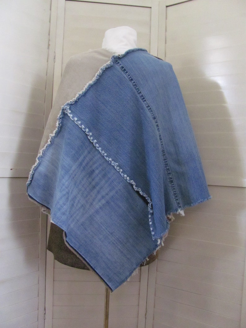 Denim and Corduroy Poncho one size fits most