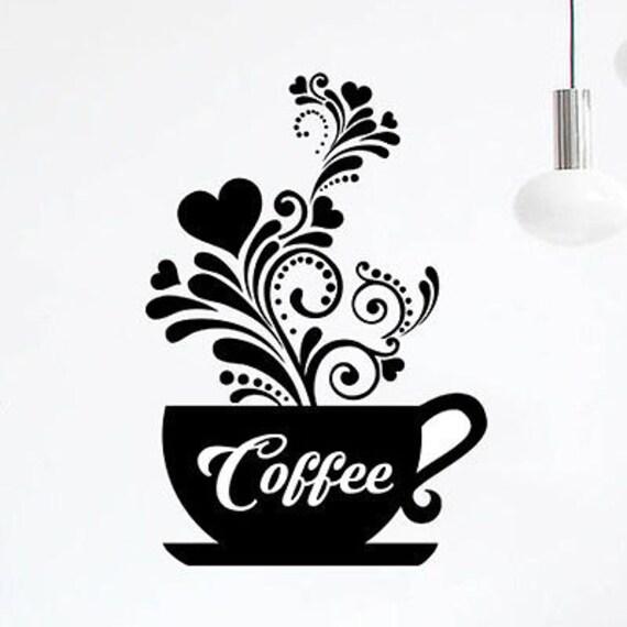 2 tazas de café Cocina pegatinas de pared Cafe Vinilo Arte calcomanías Diy