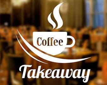 Coffee Takeaway Cafe Shop Vinyl Sticker Window Lettering Wall Art Sign Decor