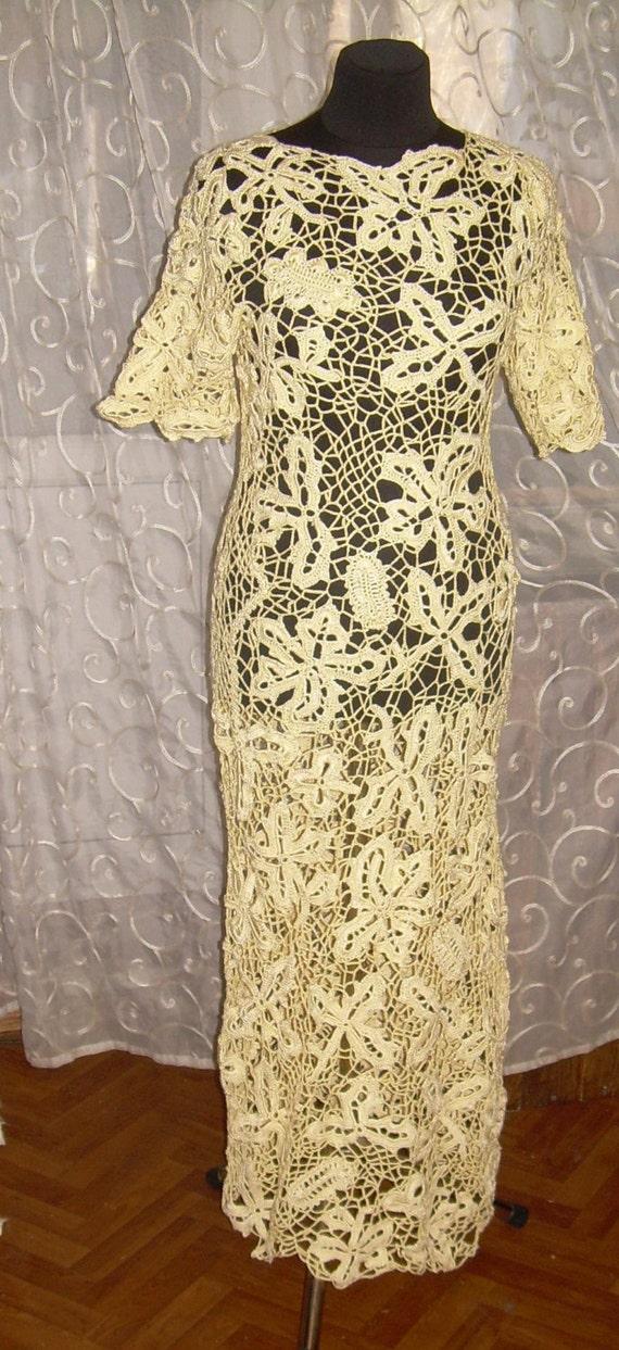 Crochet Brautkleid irische Spitze irische Spitzekleidweiße   Etsy