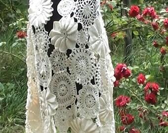 Irish crochet wedding scarf, crochet lace, crochet irish lace, irish lace,wedding dress, white scarf, wedding shawl