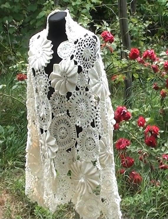 Irish Crochet Wedding Scarf Crochet Lace Crochet Irish Lace Etsy