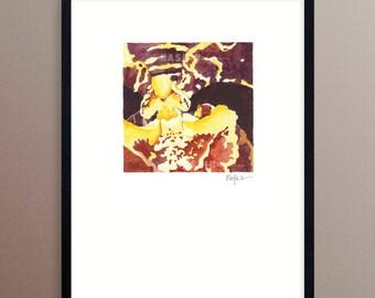 "Orchid Watercolor Painting, Oncidium ""Boissense"" , 4 x 4"" art on 8 x 10"" paper"