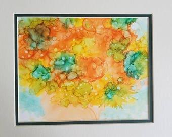 Original Alcohol Ink Art Abstract - Citrus Bouquet Matted 11 x 14 Original Art Signed
