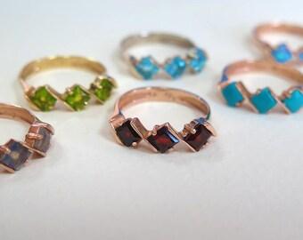 Garnet Gold Ring, Vintage Garnet Ring, Vintage Gold Ring, Multistone Ring, Birthstone Ring, January Birthstone, Gift For Her