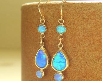 Opal Earrings, Blue Opal Earrings, Birthstone Earrings, Dainty Earrings, Gemstone Earrings, Bridal Earrings, Gift For Her, Anniversary Gift