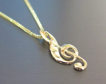 Treble Clef Pendant - Gold Treble Clef Charm - Treble Clef Necklace - Music Necklace - 14k Gold Treble Clef Pendant - Gold Treble Clef