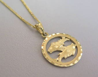 Gold Pisces Necklace - Pisces Necklace - Gold Pisces Pendant - Gold Zodiac Necklace - Gold Zodiac Pendant - Pisces Jewelry - Zodiac Jewelry