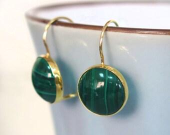 Malachite Earrings - Solid Gold Earrings - Green Malachite Jewelry - Malachite Drop Earrings - Gold Drop Earrings - Spring Sale