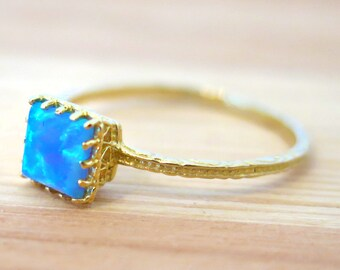 Opal ring - Opal Gold ring - 14K Gold Ring - Blue Opal Ring - Small Opal Ring, Opal Ring, October Birthstone, Gift For Her, Opal Jewelry