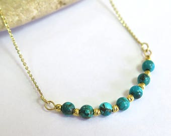 14k Gold Turquoise Necklace - Turquoise Necklace - Gold Necklace - Gemstone Necklace - Beaded Necklace - Gold Necklace - Turquoise Jewelry