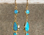 Blue Opal Dangle Earrings 14K Gold Earring Teardrop Gold Earrings Gold Drop Earrings Blue Opal Long Earrings October Birthstone