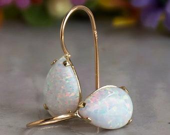 White Opal Gold Earrings, 14K Solid Gold Dangle Earrings, October Birthstone Jewelry, Bridesmaid Jewelry, Wedding Jewelry for Women