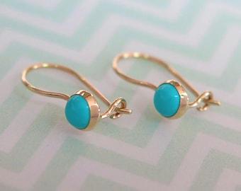 Turquoise Earrings, Gold Drop Earrings, 14K Gold Earrings, Turquoise Jewelry, Gold Dangle Earrings, 14K Drop Earrings, Gemstone Earrings,