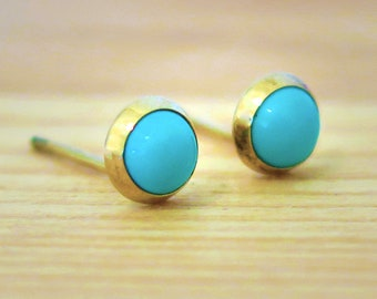 Turquoise Gold Studs, Gold Stud Earrings, December Birthstone, Turquise Earrings, Turquise Studs, Blue Earrings, Stud Earrings,