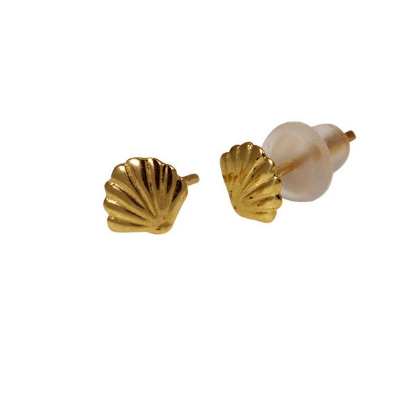 14k solide or jaune Coquille Sea Shell Boucles d/'oreilles Clou